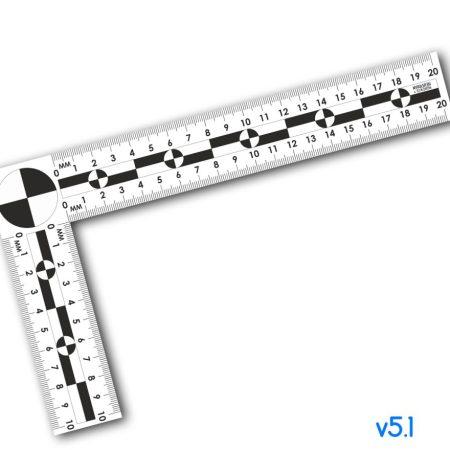 Линейка угловая криминалистическая масштабная 10х20см, пластик v5.0