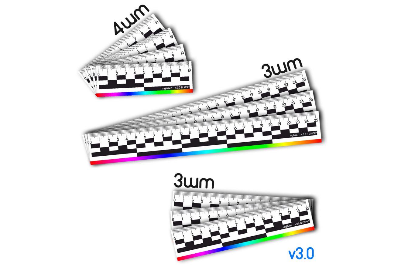 Набор из 10шт масштабных магнитных линеек (пластик) с цветной полосой v3.0