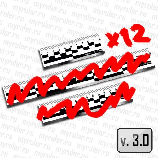 Набор из 12шт (10см) масштабных магнитных линеек (пластик)  c ч/б полосой v3.0