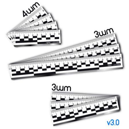 Набор из 10шт масштабных магнитных линеек (пластик) c ч/б полосой v3.0