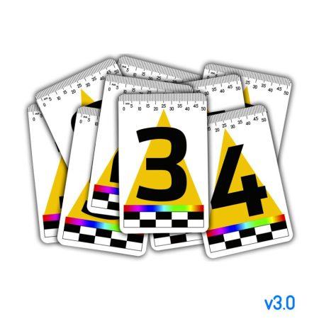 Набор магнитных масштабных табличек 0-9 – 55х85мм (пластик) с стрелкой и цветной полосой v3.0