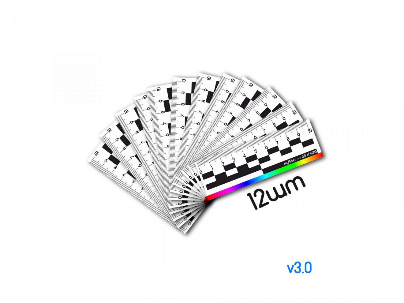 Набор из 12шт масштабных магнитных линеек 10см (пластик) c цветной полосой v3.0