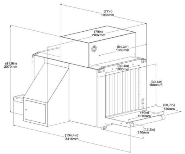 Размеры интроскопа XRC 100-100DV