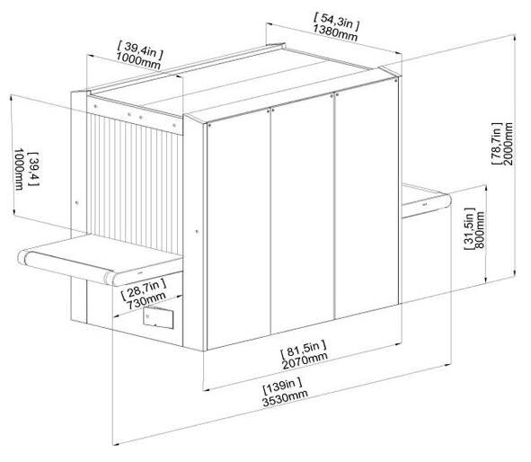 Размеры интроскопа XRC 100-100