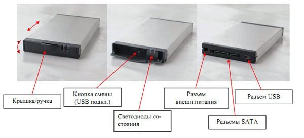 Рисунок 5. Сменный диск SATA/USB в защищенном картридже для исполнения -RACK