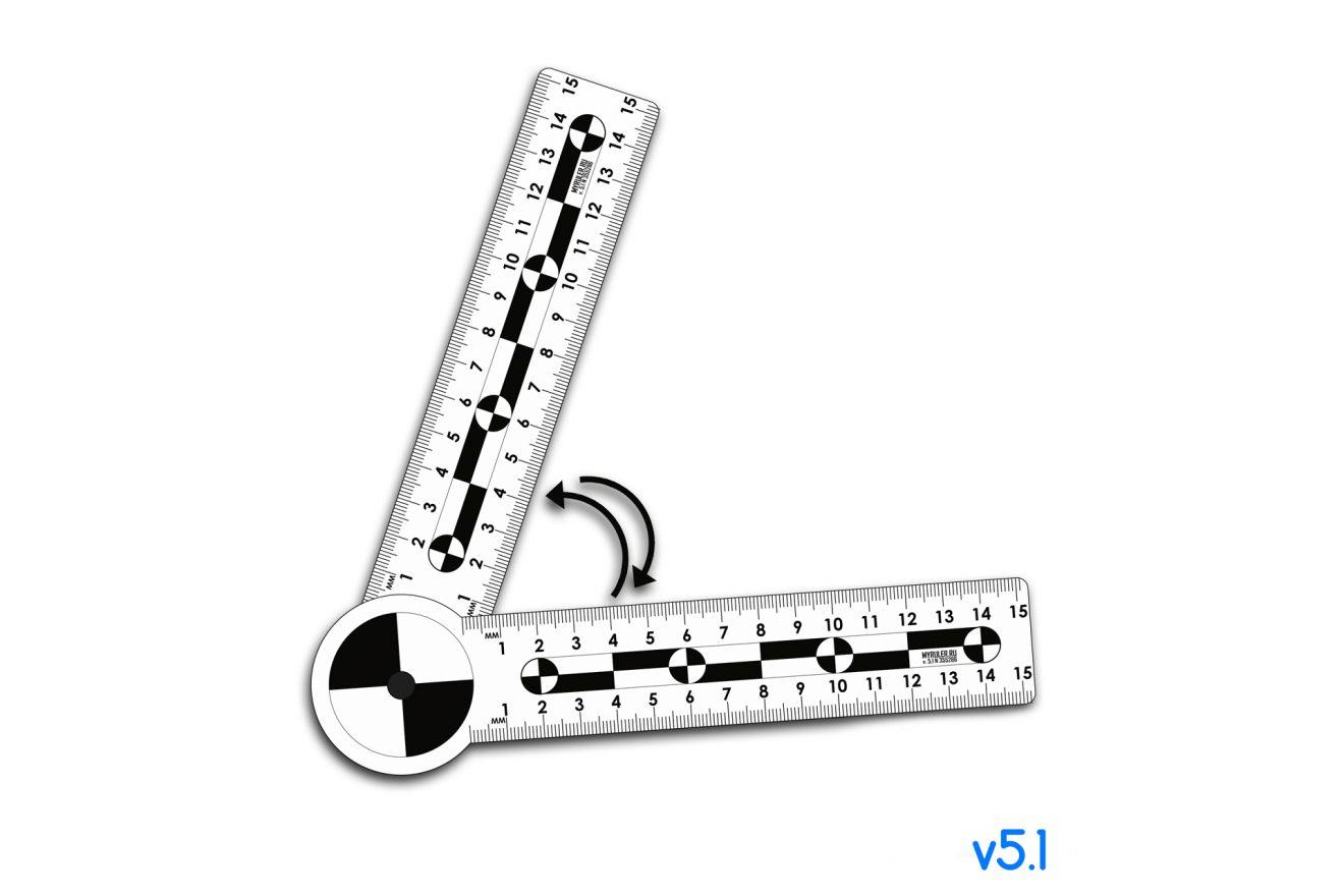 Складная криминалистическая угловая масштабная линейка 15х15см, пластик v5.1